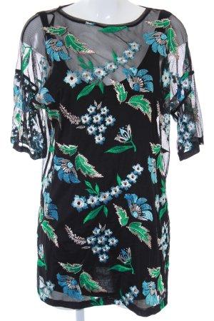 Zara Kurzarm-Bluse schwarz Blumenmuster klassischer Stil