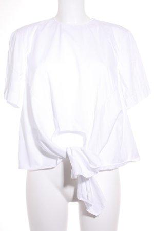 Zara Kurzarm-Bluse weiß schlichter Stil