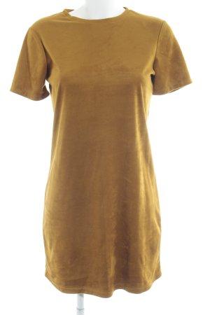 Zara Vestido de manga corta marrón claro Estilo años 70