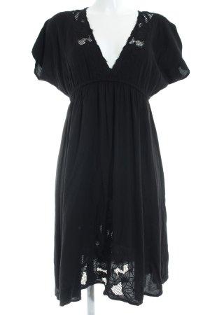 Zara Vestido de manga corta negro modelo de punto flojo look casual