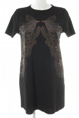 Zara Kurzarmkleid schwarz Motivdruck Elegant