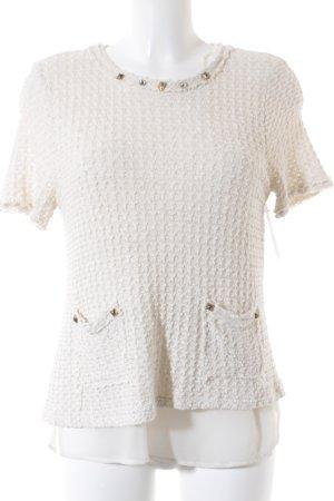 Zara Pull à manches courtes crème style décontracté