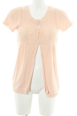 Zara Cardigan a maniche corte albicocca punto treccia stile casual