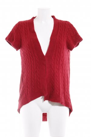 Zara Short Sleeve Knitted Jacket dark red cable stitch casual look