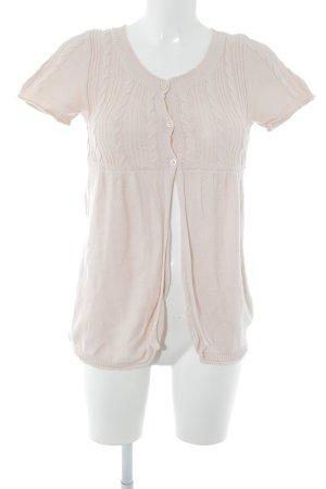Zara Cárdigan de manga corta rosa punto trenzado look casual