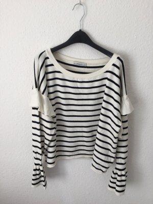 Zara kurzer Pullover mit Volants gestreift