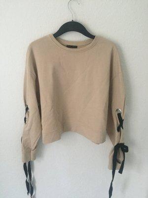 Zara kurzes Sweatshirt mit Schnürung Nude
