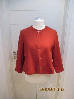 Zara Veste courte rouge brique tissu mixte
