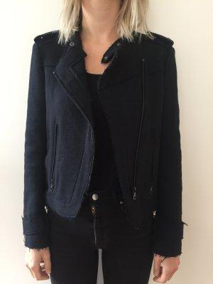 Zara Basic Chaqueta de lana azul oscuro-azul