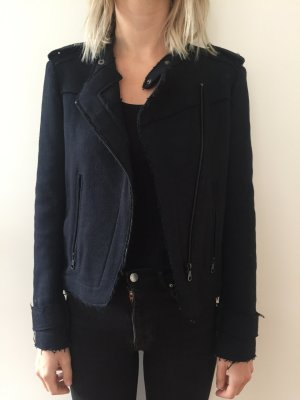 Zara Basic Wool Jacket dark blue-blue