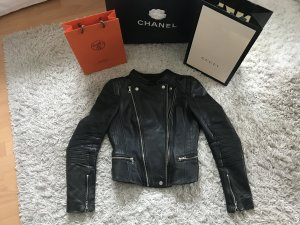 Zara Kylie Jenner Bikerjacke Lederjacke Leder Military Biker Jacke Top Schwarz