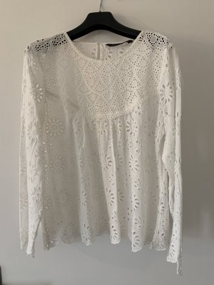 Zara Woman Top de encaje blanco-crema