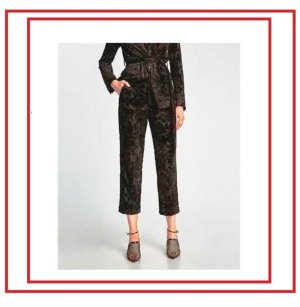Zara 3/4 Length Trousers black polyester