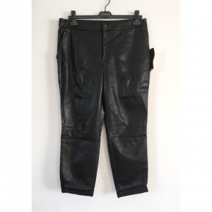 Zara lässige Lederhose schwarz M L 38 40 Boyfriend Style tiefer Schritt Kunstleder NEU