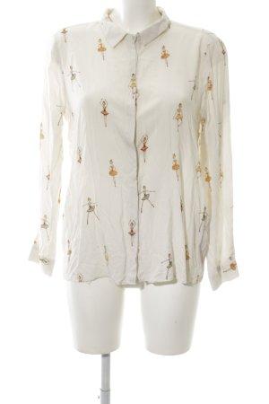 Zara Langarm-Bluse creme-blassgelb Motivdruck Casual-Look
