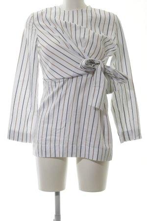 Zara Langarm-Bluse weiß-schwarz Streifenmuster Elegant