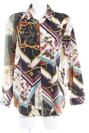 Zara Langarm-Bluse abstraktes Muster Elegant