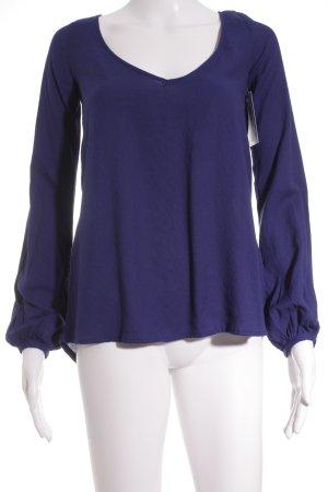 Zara Langarm-Bluse blau Street-Fashion-Look