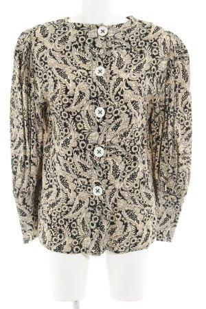 Zara Langarm-Bluse creme-schwarz florales Muster Elegant