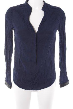 Zara Langarm-Bluse dunkelblau-schwarz Casual-Look
