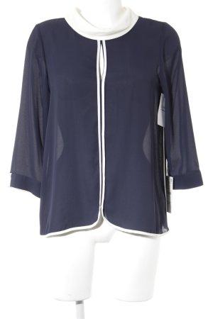 Zara Blouse à manches longues bleu foncé-blanc style d'affaires