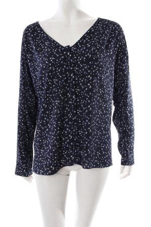 Zara Langarm-Bluse dunkelblau-weiß Kunstmuster