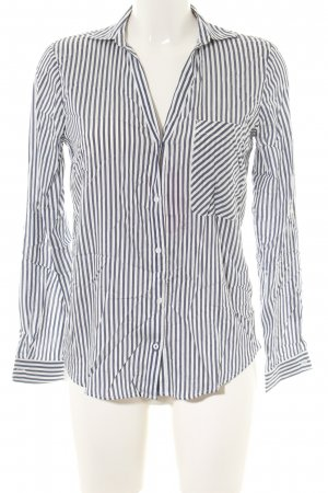 Zara Langarm-Bluse weiß-schwarz Streifenmuster Casual-Look