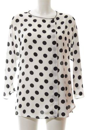Zara Langarm-Bluse weiß-schwarz Punktemuster Elegant