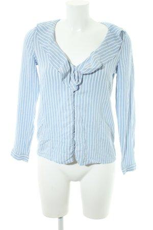 Zara Blusa de manga larga azul aciano-blanco estampado a rayas estilo clásico