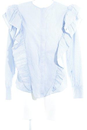 Zara Langarm-Bluse kornblumenblau-wollweiß Streifenmuster Street-Fashion-Look