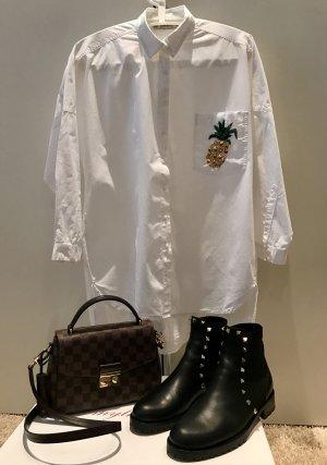 Zara Langarm-Bluse mit Ananas-Stickerei