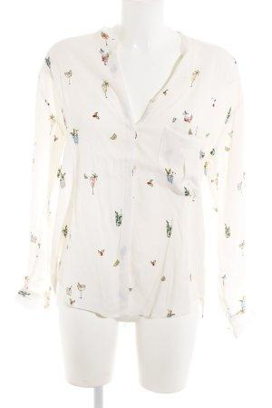 Zara Langarm-Bluse Motivdruck Casual-Look