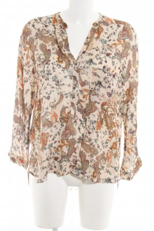 Zara Langarm-Bluse Ornamentenmuster Casual-Look