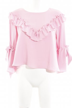 Zara Blusa de manga larga rosa elegante