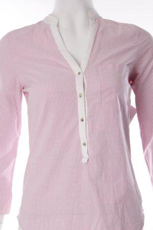 Zara Langarm-Bluse rosa-weiß