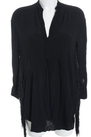 Zara Langarm-Bluse schwarz Boho-Look