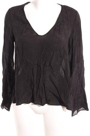 Zara Langarm-Bluse schwarz