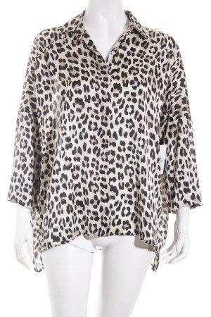 Zara Langarm-Bluse schwarz-hellbeige Leomuster extravaganter Stil