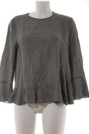 Zara Langarm-Bluse schwarz-weiß Karomuster Casual-Look