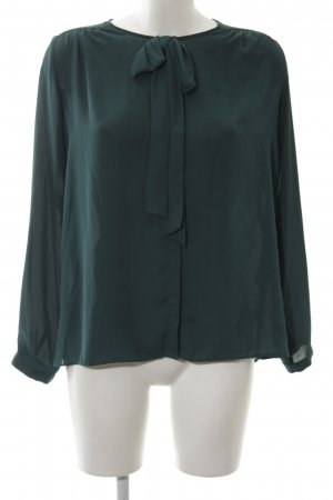 Zara Blusa de manga larga verde bosque look casual