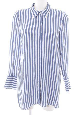 Zara Blusa de manga larga blanco-azul estampado a rayas estilo «business»