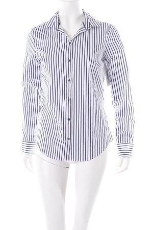 Zara Langarm-Bluse weiß-dunkelblau Streifenmuster