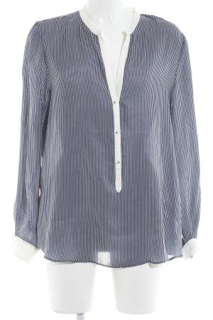 Zara Langarm-Bluse weiß-dunkelblau Streifenmuster Business-Look