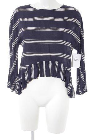 Zara Blouse à manches longues blanc-bleu foncé motif rayé style décontracté