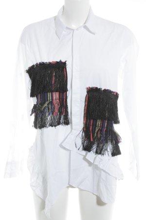 Zara Camicetta a maniche lunghe bianco stile hippie