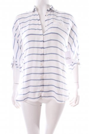Zara Langarm-Bluse weiß-kornblumenblau Streifenmuster Casual-Look