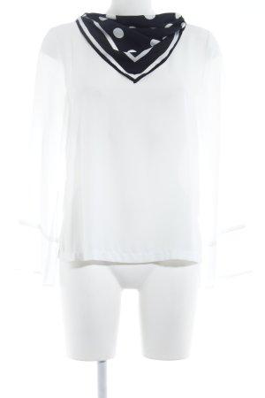 Zara Camicetta a maniche lunghe bianco motivo a pallini Inserti in tessuto