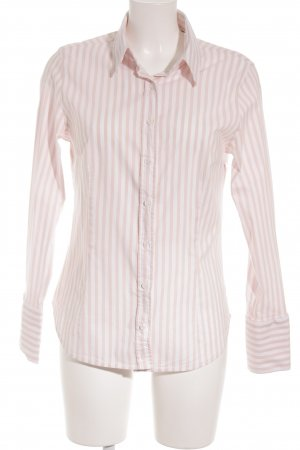 Zara Blouse à manches longues blanc-rosé motif rayé style d'affaires
