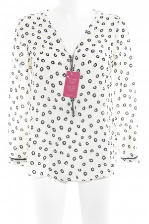 Zara Langarm-Bluse weiß-schwarz Punktemuster Casual-Look