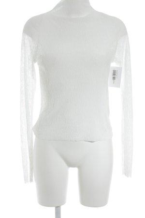 Zara Langarm-Bluse weiß Transparenz-Optik
